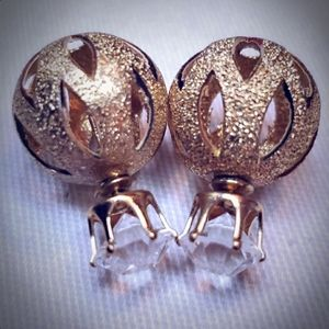 Gold .925 Plated Double Sided Earrings